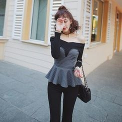 Tang House - Pinstriped Off-Shoulder Peplum Top