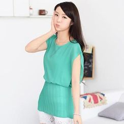 59 Seconds - Cap-Sleeve Accordion Pleat Chiffon Top