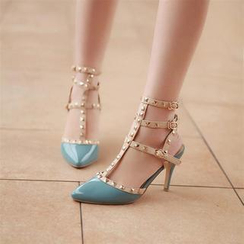 JY Shoes - Studded Strappy Pointy Pumps