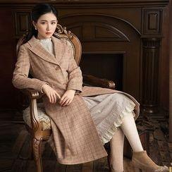 GU ZHI - Wool Blend Check Buttoned Coat