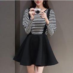 Mandalle - Mock Two-piece Long-Sleeve Stripe Dress