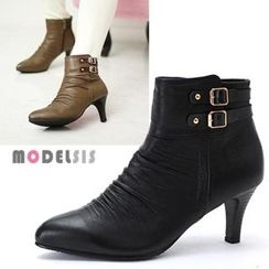 MODELSIS - Genuine Leather Shirred Buckled Ankle Boots