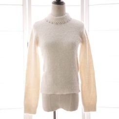 Reine - Embellished Mock Neck Sweater