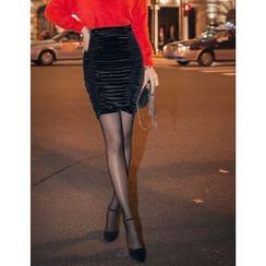 GUMZZI - Glitter Shirred Miniskirt