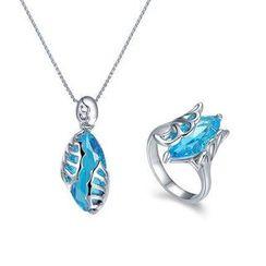 伊泰莲娜 - 套装: 施华洛世奇元素水晶翅膀项链 + 戒指