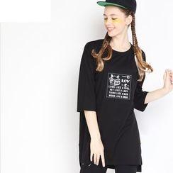 MUKOKO - Print Elbow-Sleeve Long T-shirt