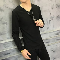 Kashen - Set: Fleece Lined V-Neck Long-Sleeve T-Shirt + Pants