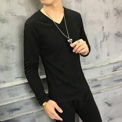 Kashen - 套裝: 內抓毛V領長袖T恤 + 長褲