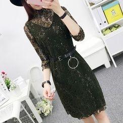 Cottony - 3/4-Sleeve Lace Panel Sheath Dress