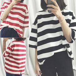 Melon Juice - Oversized Stripe Short-Sleeve T-Shirt