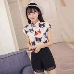 Sienne - Set: Cat Print Cap Sleeve Shirt + Mesh Trim Shorts