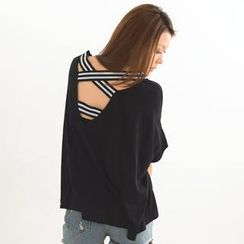 SO Central - Short-Sleeve Striped Cross Strap Top