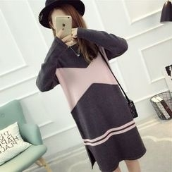 Dream Girl - Maternity Color Panel Sweater Dress