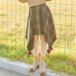 Moriville - Plaid Asymmetric Midi Skirt