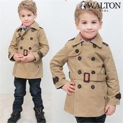 WALTON kids - Faux-Leather Trim Trench Coat