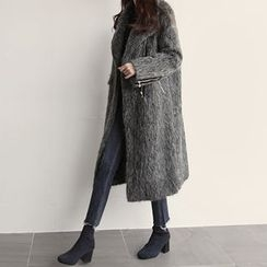 NIPONJJUYA - Diagonal-Zip Furry Long Coat