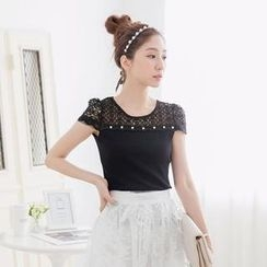 Tokyo Fashion - Cap-Sleeve Beaded Lace-Yoke Top