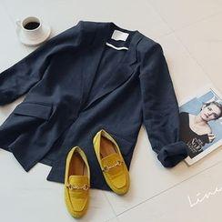 NANING9 - Open-Front Linen Jacket