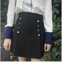 Moon City - Buttoned A-line Skirt