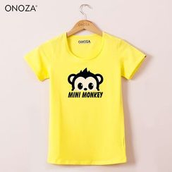 Onoza - Short-Sleeve Monkey-Print T-Shirt