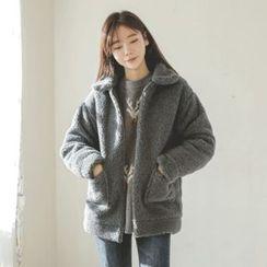 JUSTONE - Collared Zip-Up Sherpa-Fleece Jacket