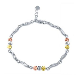 MaBelle - 14K Yellow, Rose And White Gold Diamond Cut Triple Circle Beads With Wave Bracelet (17.5cm)