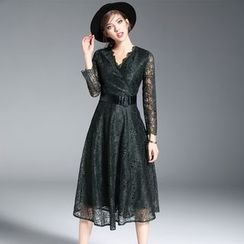 Ozipan - Long-Sleeve Belted Lace Dress