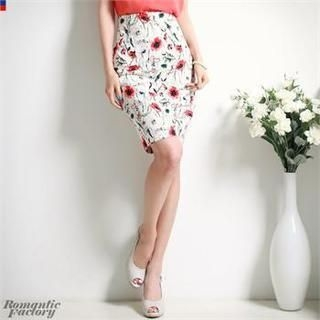 Romantic Factory - High-Waist Floral Patterned Pencil Skirt