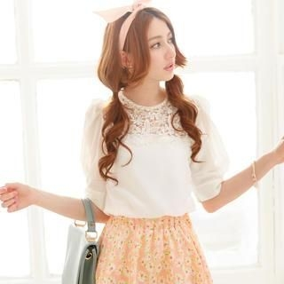 Tokyo Fashion - Puff Elbow-Sleeve Lace Yoke Top