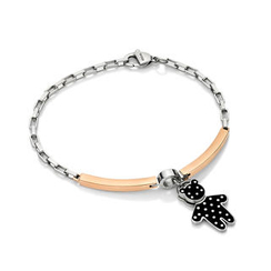 Kenny & co. - Black Dot Pattern Bear Charm With Steel Bracelet