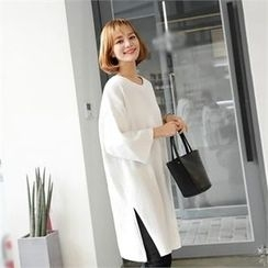 ZIZIBEZIRONG - 3/4-Sleeve Slit-Side T-Shirt