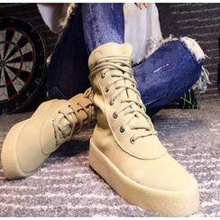 楊董 - 厚底繫帶靴