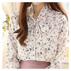 Sechuna - Tie-Neck Floral Pattern Top