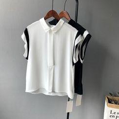 芷蓯夕 - 雙色無袖雪紡襯衫