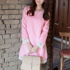 Jolly Club - Long-Sleeve Lace-Trim Dress