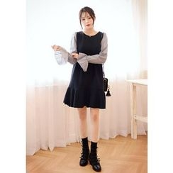 DEEPNY - Frill-Sleeve Mock Two-Piece Dress