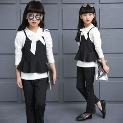 Pegasus - Kids Set: Bow Accent Long Sleeve Top + Camisole Peplum Top + Pants