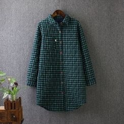 Blue Rose - Check Quilted Long Shirt