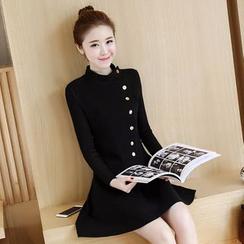 lilygirl - 内加绒长袖针织连衣裙