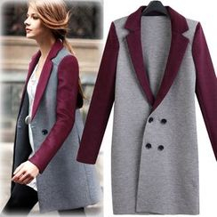 lilygirl - Two-Tone Double-Breasted Knit Coat