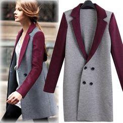 lilygirl - 双色双排扣针织大衣