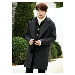 HOTBOOM - Wool Blend Hooded Coat