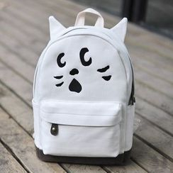 SUPER LOVER - Embroidery Cat Canvas Backpack