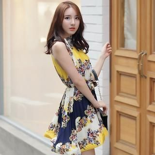 BRONCY - Halter Pleated Floral Print Dress