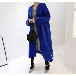 Miamasvin - Collarless Wool Blend Long Coat