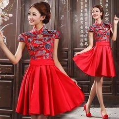 Bridal Workshop - Cap-Sleeve Chinese Style Cocktail Dress