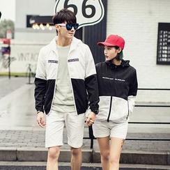 以路 - 情侶裝雙色連帽防風夾克