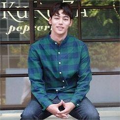 BYMONO - Mandarin-Collar Checked Shirt