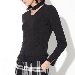 Ultra Modern - Cut Out Front Long Sleeve T-Shirt