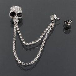 潮野 - 水钻骷髅链条胸针